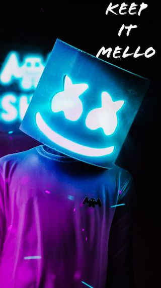 Обои на телефон маршмеллоу, синие, неоновые, neonblue, marshmello neon blue, keepitmello