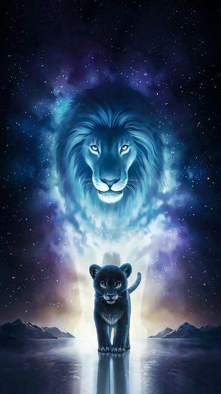 Обои на телефон art, kindom, mirror of the king, арт, фильмы, лев, король, тигр, джунгли, малыш, зеркало