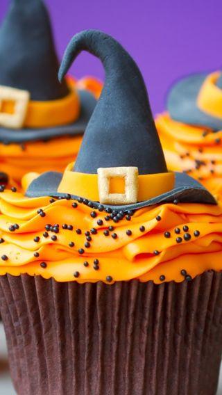 Обои на телефон шляпа, ведьма, хэллоуин, cupckaes