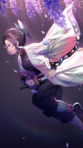 Обои на телефон демон, меч, аниме, shinobu kochou, hashira