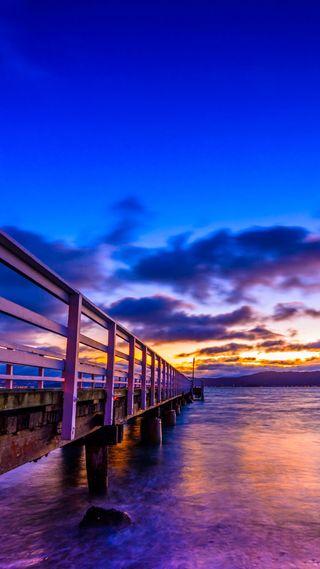 Обои на телефон берег, фиолетовые, супер, пирс, океан, облака, небо, мост, море, красота, вечер