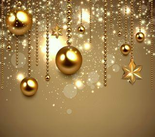 Обои на телефон шары, украшение, счастливое, рождество, новый, золотые, звезды