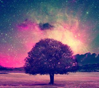 Обои на телефон поле, дерево, цветные, пейзаж, галактика, абстрактные, galaxy