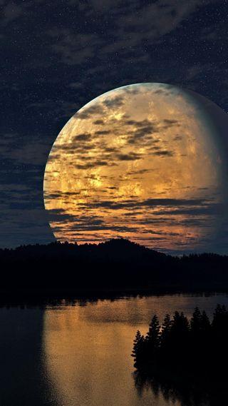 Обои на телефон ок, природа, ночь, небо, луна, красота, классные, вода, вид