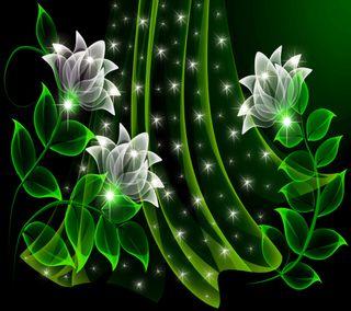 Обои на телефон сверкающие, цветы, цветочные, светящиеся, неоновые, зеленые