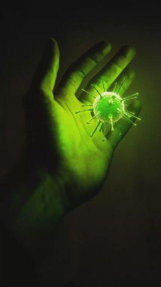 Обои на телефон корона, рука, зеленые, covid 19