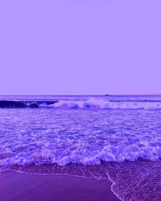 Обои на телефон эстетические, фиолетовые, пляж, пейзаж, океан