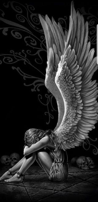 Обои на телефон небеса, крылья, ангел