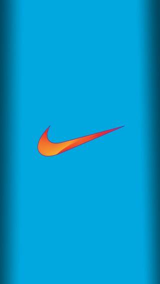 Обои на телефон синие, размытые, просто, оранжевые, найк, логотипы, золотые, буквы, белые, nike blue orange, do, air