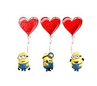 Обои на телефон валентинки, шары, сердце, миньоны, милые, любовь, красые, love heart minions, love