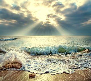 Обои на телефон песок, солнце, пляж, море, волна