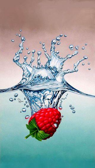 Обои на телефон иллюстрации, фрукты, красые, вода, арт, абстрактные, raspberry, art