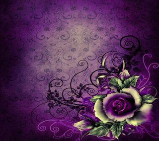 Обои на телефон rose purple, vintage design, purple rose, дизайн, фиолетовые, шаблон, розы, винтаж