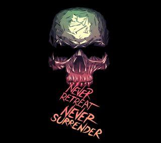 Обои на телефон череп, текст, никогда, высказывания, surrender, retret