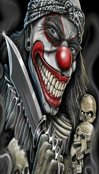 Обои на телефон клоун, череп, нож, гангстер, killerclown, gangster clown