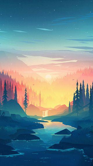 Обои на телефон природа, пейзаж, озеро, горы, галактика, land, galaxy, animate, after
