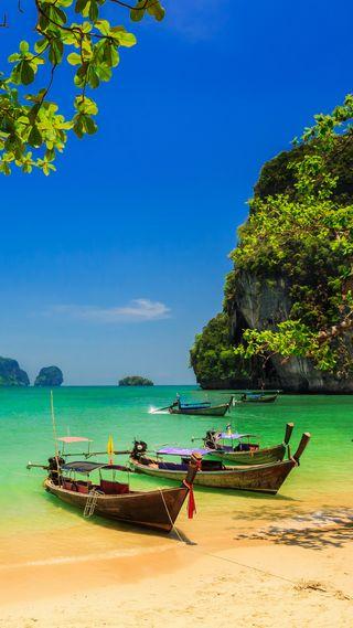 Обои на телефон пляж, природа, прекрасные, остров, небо, лодка, лето, зеленые