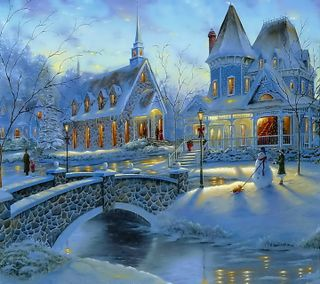 Обои на телефон дом, снег, рождество, зима