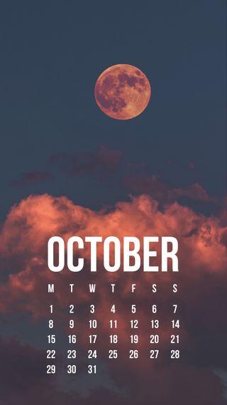Обои на телефон zedgeoct18, october blood moon, луна, кровь, календарь, октябрь