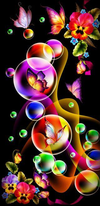 Обои на телефон рисунки, цветы, цвета, фон, фантазия, пузыри, неоновые, дизайн, бабочки, абстрактные, fantasy bubbles