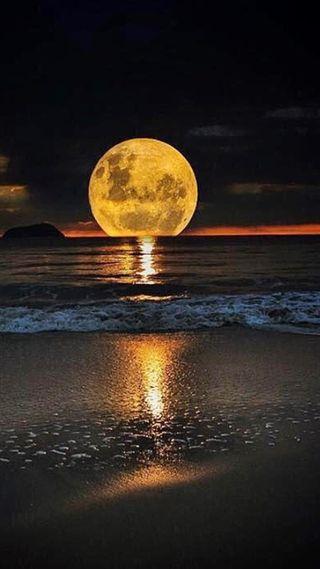 Обои на телефон пляж, океан, ночь, луна, son