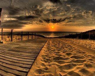 Обои на телефон песок, пляж, закат, дорога, footprint