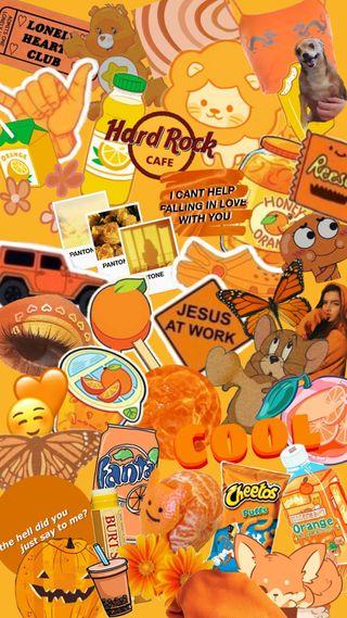 Обои на телефон коллаж, эстетические, оранжевые, милые, арт, orange aesthetic, art