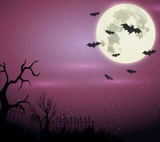Обои на телефон хэллоуин, фиолетовые, ужасные, луна, летучие мыши, purple halloween