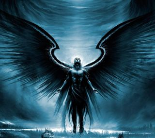Обои на телефон крылья, темные, небо, летать, ангел, man