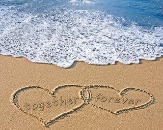 Обои на телефон вместе, сердце, пляж, песок, навсегда, море, любовь, love
