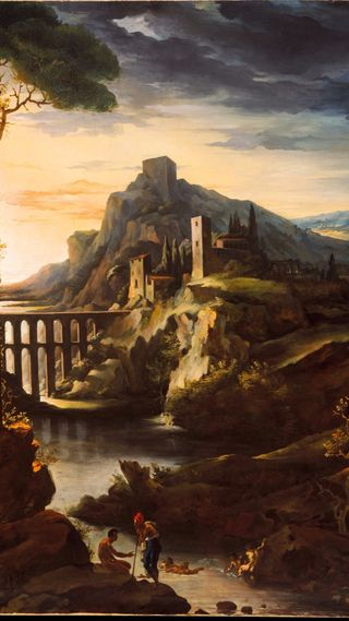 Обои на телефон французские, вечер, пейзаж, картина, romanticism era, evening landscape