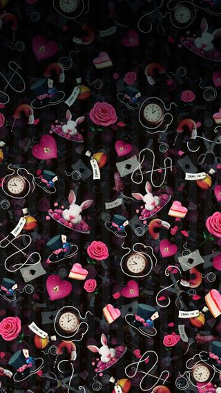 Обои на телефон кролики, шаблон, страна чудес, сердце, мультфильмы, алиса, alice pattern