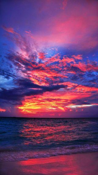 Обои на телефон вечер, прекрасные, пляж, облака, море, волны, вид