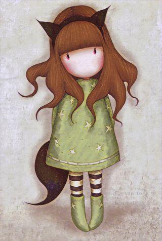 Обои на телефон лиса, фантазия, милые, костюм, зеленые, девушки, santoro, gorjuss, foxy
