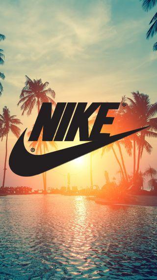 Обои на телефон океан, синие, найк, море, логотипы, закат, деревья, вода, nike wallpaper, nike sunset, nike logo, nike