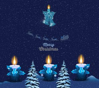 Обои на телефон свеча, синие, рождество, christmas 65