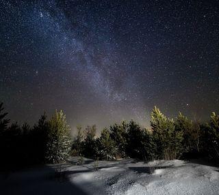 Обои на телефон холодное, снег, природа, пейзаж, ночь, зима