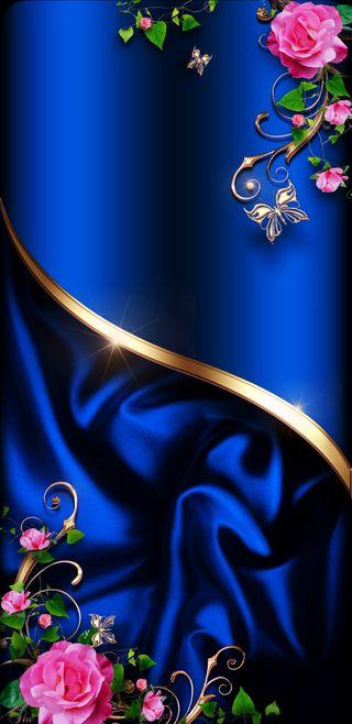 Обои на телефон синие, розы, розовые, золотые, бабочки, satin, royalsatin, royal