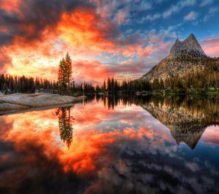 Обои на телефон отражение, природа, пейзаж, озеро, небо, закат, горы