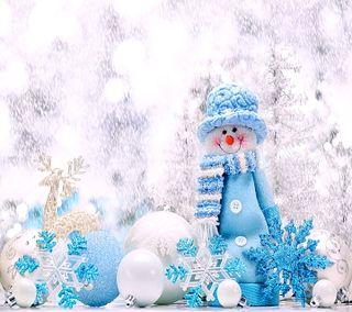 Обои на телефон снежинки, счастливые, счастливое, снеговик, синие, рождество, новый, каникулы