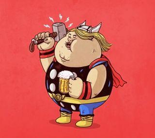 Обои на телефон тор, супергерои, иллюстрации, дизайн, thor fat
