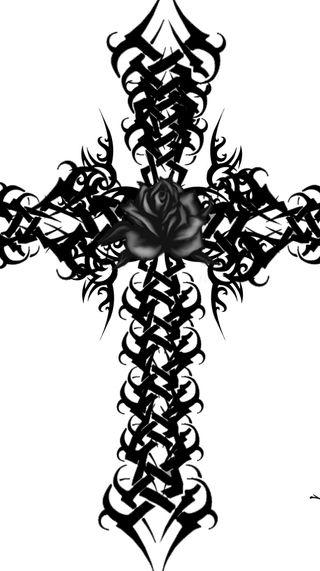 Обои на телефон религия, черные, розы, крест, готические, black rose and cross