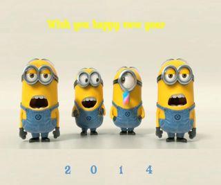Обои на телефон год, новый, миньоны, крутые, забавные, new year minions, new year 2014, 2014