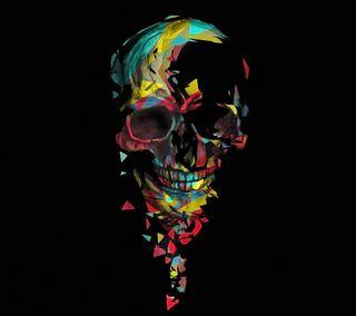 Обои на телефон треснутые, скелет, череп, абстрактные