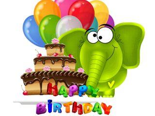 Обои на телефон слон, шары, торт, счастливые, cake birtday, 640x480px