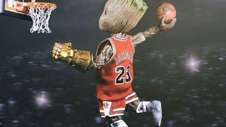 Обои на телефон малыш, корзина, грут, баскетбол, groot basketball 5k