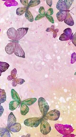 Обои на телефон весна, фиолетовые, бабочки, watercolour