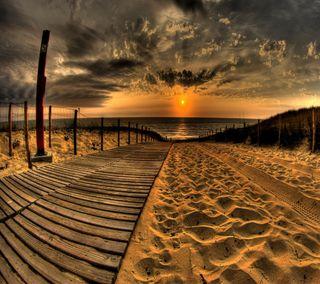 Обои на телефон вечер, природа, прекрасные, пляж, песок, красота, закат