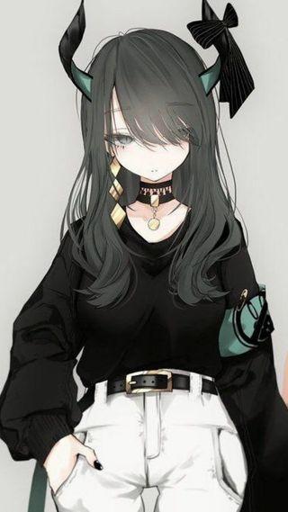 Обои на телефон демон, девушки, аниме, anime  demon girl