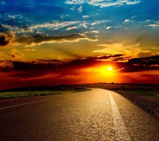 Обои на телефон солнечный свет, цветные, природа, пейзаж, облака, небо, дорога